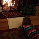 CH drawing in front of fireplace